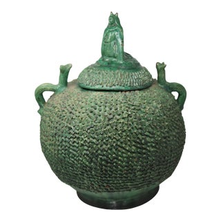 Mexican Green Lidded Pot For Sale