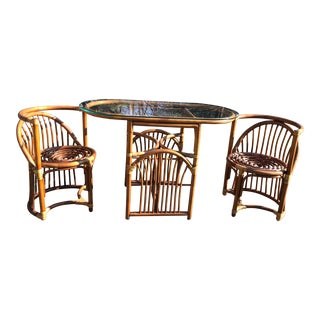 Boho Chic Rattan and Bentwood Dining Set for Two - 3 Pieces For Sale