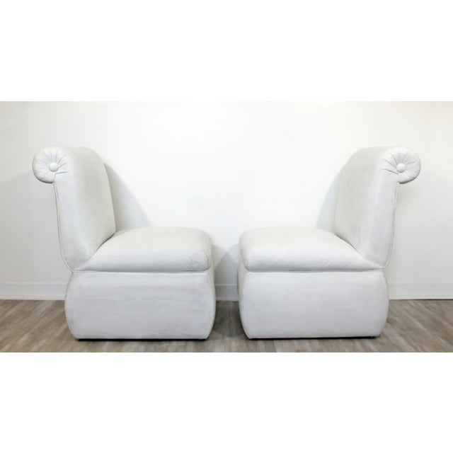 Contemporary Modern White Leather Accent Slipper Side Chairs, 1980s - a Pair For Sale In Detroit - Image 6 of 10