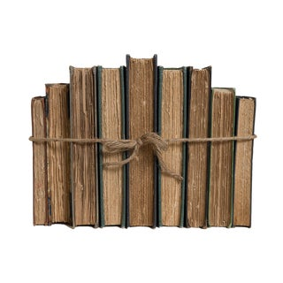 Antique Deckled Pages Book Set, (S/9) For Sale