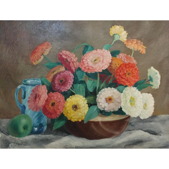 """Frode Dann - Still Life of Dahlias -Beautiful Oil Painting -1942 Oil Painting on Canvas frame size 26 x 31"""" Canvas Size..."""