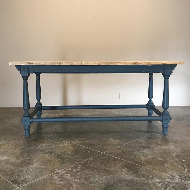 Antique Painted Dining Table With Stripped Top For Sale In Baton Rouge - Image 6 of 12