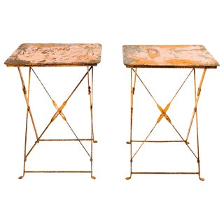 Pair of Antique French Industrial Bistro Folding Tables, C. 1930s For Sale
