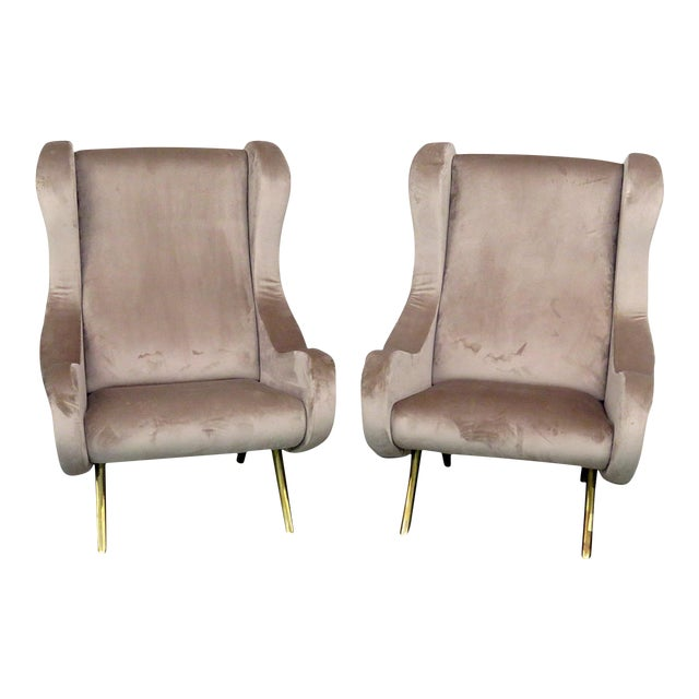 Pair of Italian Modern Lounge Chairs - Image 1 of 9
