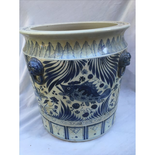 Blue & White Chinese Fish Motif Planter - Image 3 of 10