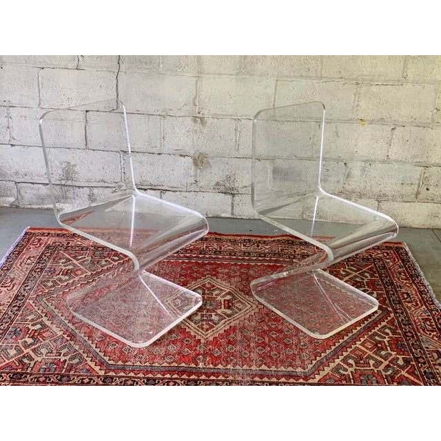 Transparent Mid Century Modern Lucite Chairs, a Pair For Sale - Image 8 of 11