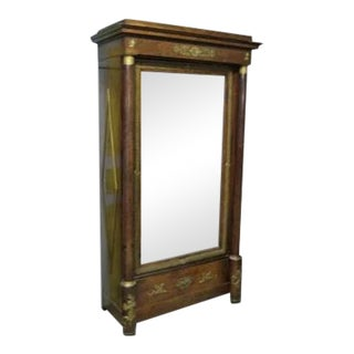 French Empire Mahogany One Door Wardrobe Armoire Cabinet Ormolu Mounts Cherubs Angels For Sale