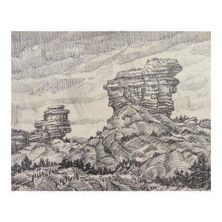 Desert Rock Landscape Drawing by Simon Michael, 1980s For Sale