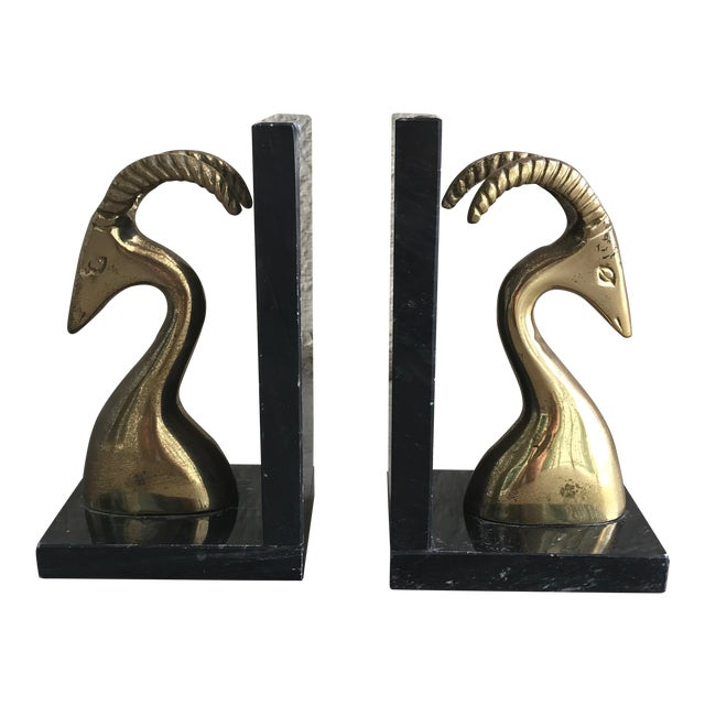 Mid-Century Brass & Marble Ram Bookends - A Pair - Image 1 of 6