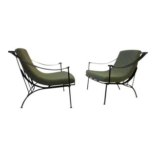 Pair of Wrought Iron and Fabric Lounge Chairs by Russell Woodard For Sale