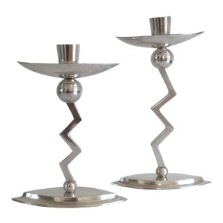 1980s Memphis Group Style Sterling Silver Zig Zag Candlesticks - a Pair