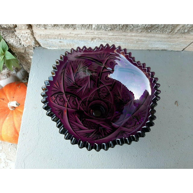 Glass Mid 20th Century Large Imperial Whirling Star Amethyst Glass Punch Bowl With Stand For Sale - Image 7 of 13