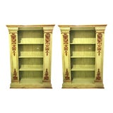 Image of Pair of Palatial 19th Century Swedish Parcel-Gilt and Painted Bookcases For Sale