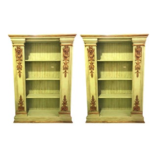 Pair of Palatial 19th Century Swedish Parcel-Gilt and Painted Bookcases