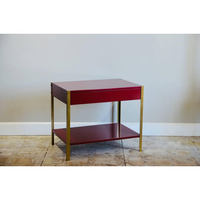 2010s Pair of 'Laque' Oxblood Lacquer and Brass Nightstands by Design Frères For Sale - Image 5 of 6
