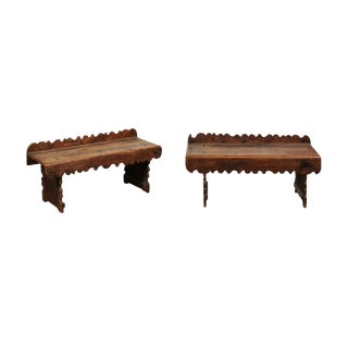 Pair of 18th C. Spanish Pine Benches For Sale