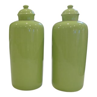 Apple Green Decorative Porcelain Ginger Jars/Canisters - a Pair For Sale