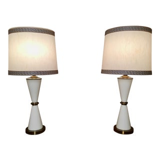 Vintage Hourglass Shaped Table Lamps - a Pair For Sale