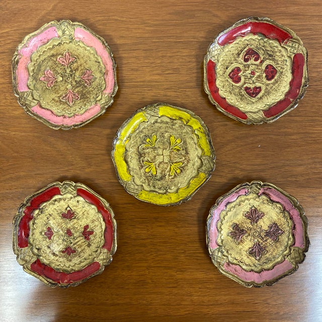 1960s Italian Gold Gilt Florentine Coasters - Set of 5 For Sale - Image 5 of 5