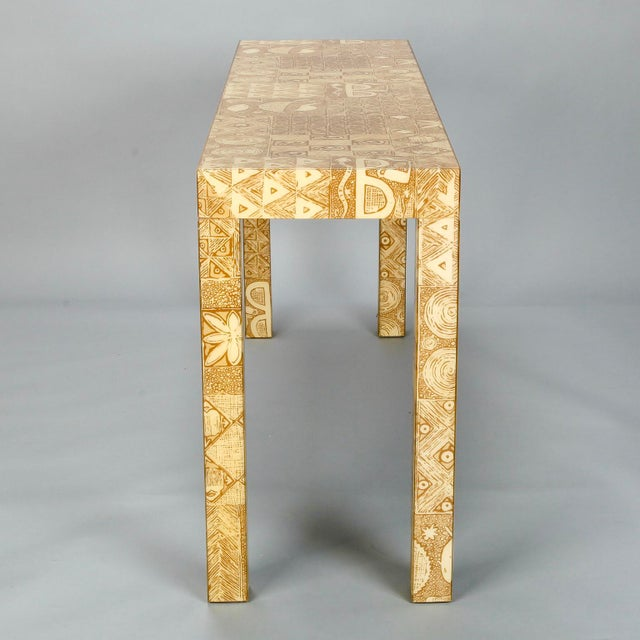 Mid-Century Acrylic Over Fabric Parsons Console Table - Image 5 of 9