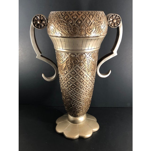 Gold Contemporary Mediterranean Uttermost Grecian Urn / Vase With Handles For Sale - Image 8 of 11