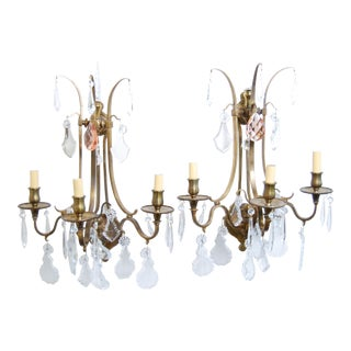 Antique French Crystal Dore' Gold Finish Rewired and Restored Sconces - a Pair For Sale