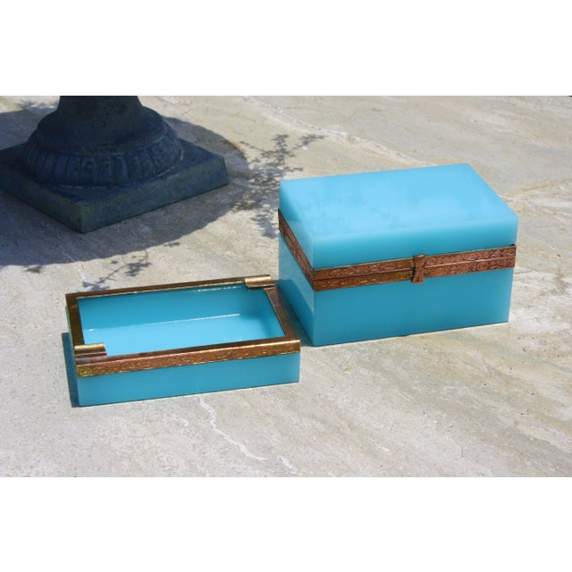 Early 20th Century French Tiffany Blue Opaline Glass Box and Ashtray Set For Sale - Image 11 of 13