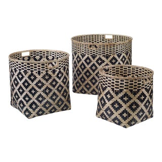 Natural and Black Bamboo Baskets - Set of 3 For Sale
