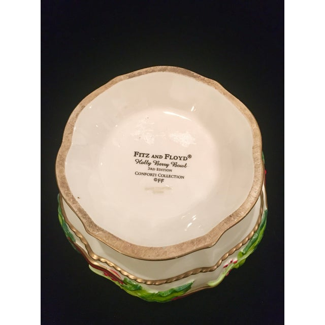 Vintage Late 20th Century Fitz and Floyd Christmas Dish With Holly Berries For Sale - Image 9 of 10