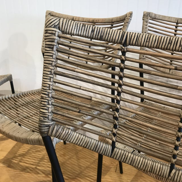 Modern Rattan and Wrought Iron Dining Side Chairs- 2 Left For Sale - Image 10 of 11
