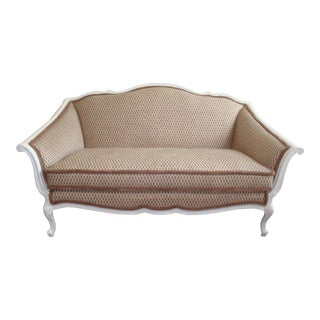 Curvy French Loveseat Settee New Upholstery and New White Painted Wood For Sale