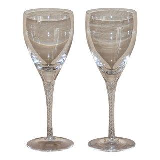 Stuart Crystal Iona Air Twist Stem Large Wine Glasses - a Pair For Sale