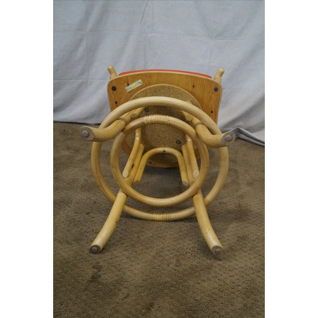 Vintage Bent Bamboo & Rattan Swivel Bar Stools -- Set of 3 - Image 8 of 10