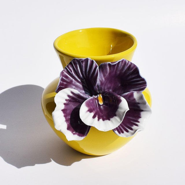 Boho Chic Yellow and Purple Abstract Ceramic Vase with Affixed Floral Orchid For Sale - Image 3 of 7