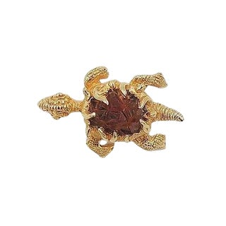 1960s Boucher Faux-Topaz Rhinestone Turtle Pin For Sale