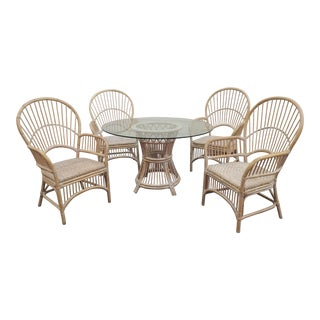Balloon Back Whitewashed Rattan Dining Patio Set- 5 Pieces For Sale