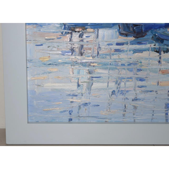 "Impressionism Italo Botti ""Mast Reflections"" Impasto Oili Painting C.1987 For Sale - Image 3 of 6"