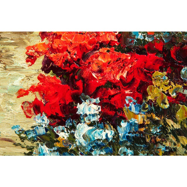 Gold Mid-20th Century Floral Field Wood Framed Oil Painting For Sale - Image 8 of 13