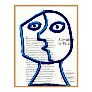 Funny Face 1 by Virginia Chamlee in Gold Frame, Small Art Print For Sale