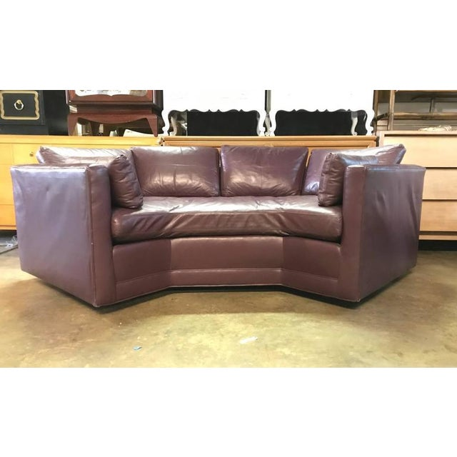 Superb Geometrical Shaped Vintage Leather Sofa Decaso