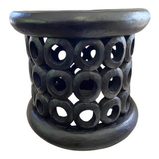 "African Bamileke Wood Stool/Table 16.5"" H by 19 "" D Cameroon For Sale"