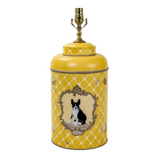Vintage Tole Tea Caddy Lamp in Mod Yellow For Sale