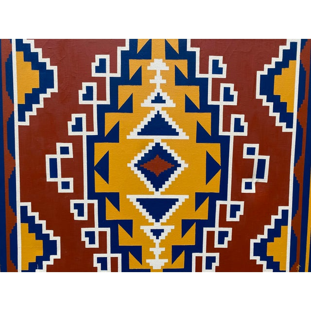 """Aztec oil on canvas signed Chris Christy 1"""" tear in lower left corner, canvas slightly indented on right side."""