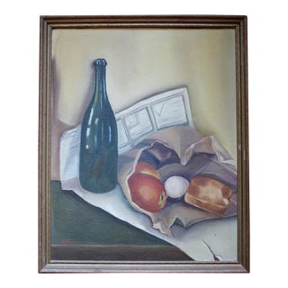 Midcentury Still Life With Wine, Original Oil on Canvas For Sale