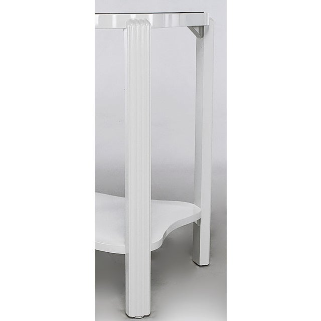 1930s Art Deco Two-Tier White Lacquer and Blue Mirror Side Table For Sale - Image 5 of 7