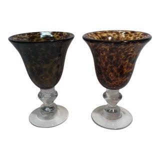Vintage Hand Blown Leopard Print Glass Goblets - a Pair For Sale