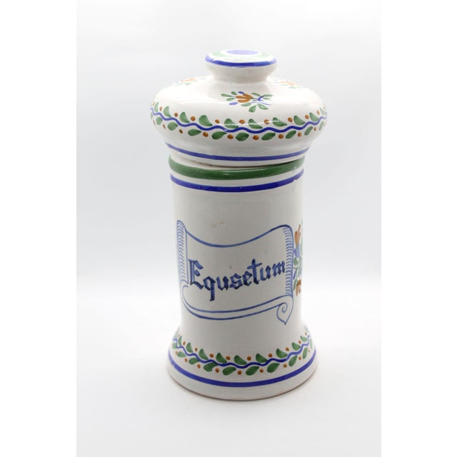 Ceramic Spanish Apothecary Jar, Hand Painted & Signed For Sale - Image 7 of 7