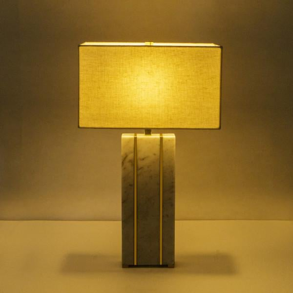 Modern Rectangular Marble Table Lamp For Sale - Image 3 of 7