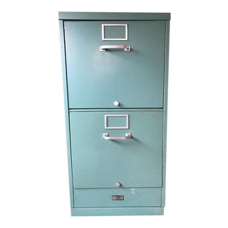 Mid-Century Turquoise Filing Cabinet