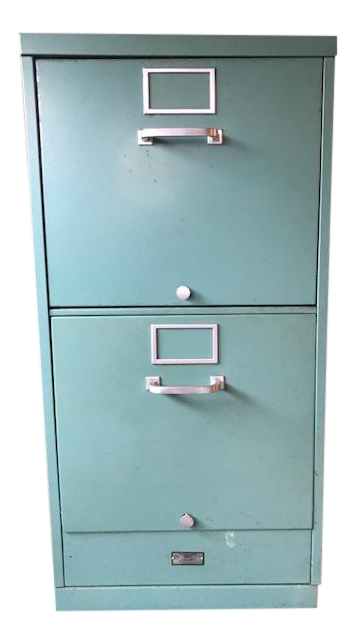 Mid Century Turquoise Filing Cabinet